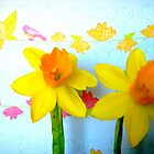 Daffodils with Birds and Flowers by CrystalFanning