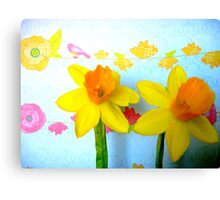 Daffodils with Birds and Flowers Canvas Print