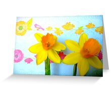 Daffodils with Birds and Flowers Greeting Card