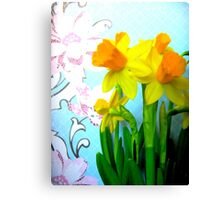 Daffodils with Blue and Flowers Canvas Print