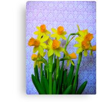 Daffodils and Purple Canvas Print