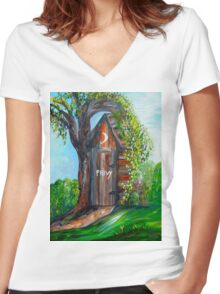 Outhouse - Privy - The Old Out House Women's Fitted V-Neck T-Shirt