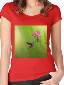 Hummingbird and Sweet Peas Women's Fitted Scoop T-Shirt