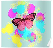 girly cute colorful paint splash pink butterfly Poster