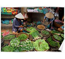 Green Market Vegetables Poster