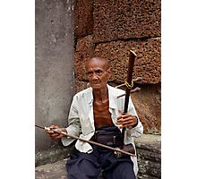Old Man Plays Temple Music Photographic Print