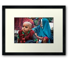 Waiting for Puja Framed Print