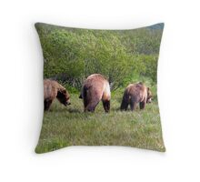Three Grizzly Bears Throw Pillow