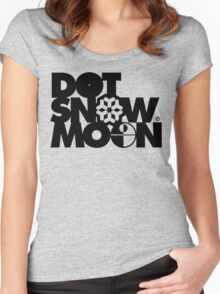 Dot Snow Moon (Black Text) Women's Fitted Scoop T-Shirt