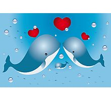 Lovely card with whales Photographic Print