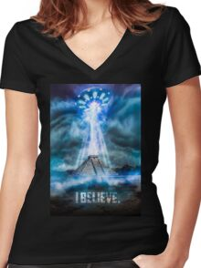 I Believe. Women's Fitted V-Neck T-Shirt