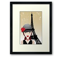 Vintage poster with beautiful girl in paris Framed Print
