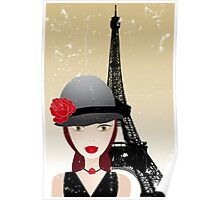 Vintage poster with beautiful girl in paris Poster