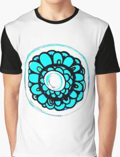 Aqua Floral Pattern Graphic T-Shirt