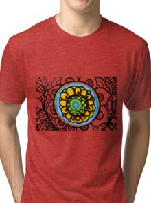 Colorful Floral Pattern Tri-blend T-Shirt