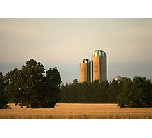 Canadian Wheat Crop and Silos Photographic Print