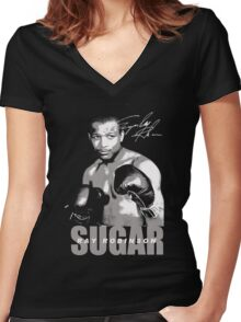 sugar ray robinson Women's Fitted V-Neck T-Shirt