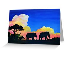 Elephants At Dusk Greeting Card