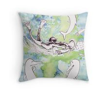 Wolf Goes Swimming Throw Pillow