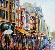 AMSTERDAM'S RAIN - OIL PAINTING BY LEONID AFREMOV by Leonid  Afremov
