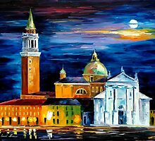 MOON ABOVE VENICE - OIL PAINTING BY LEONID AFREMOV by Leonid  Afremov