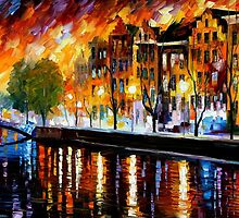 AMSTERDAM- WINTER REFLECTION - OIL PAINTING BY LEONID AFREMOV by Leonid  Afremov