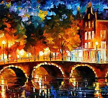 AMSTERDAM - OLD BRIDGE - OIL PAINTING BY LEONID AFREMOV by Leonid  Afremov