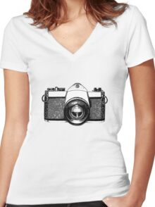 35mm Camera Women's Fitted V-Neck T-Shirt