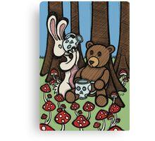 Teddy Bear and Bunny - The Mushroom Forest Canvas Print