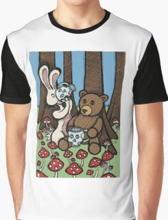 Teddy Bear and Bunny - The Mushroom Forest Graphic T-Shirt
