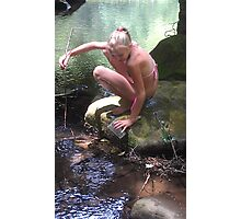 Catching A Monster Crayfish Photographic Print