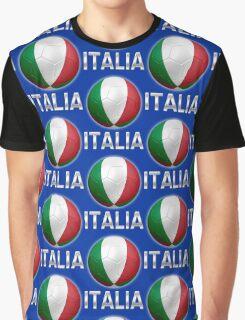 Italia - Italian Flag - Football or Soccer Ball & Text 2 Graphic T-Shirt
