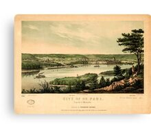 Panoramic Maps City of St Paul capital of Minnesota Canvas Print