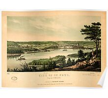 Panoramic Maps City of St Paul capital of Minnesota Poster