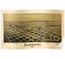 Panoramic Maps Clarendon Texas Donley Co 1890 Poster
