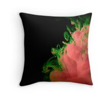 Ink + Water (orange/green) Throw Pillow