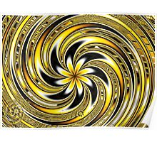Spiraling Yellow and Black Flowers Poster
