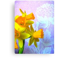 Daffodils and Purple Flowers Canvas Print