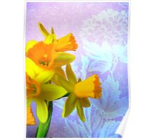 Daffodils and Purple Flowers Poster