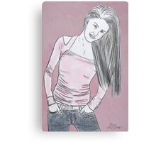 Casual Woman Standing with hands in jean pockets Canvas Print