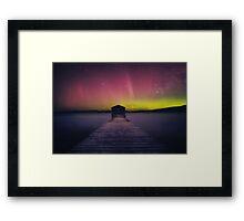 Aurora Boomer Bay Boatshed - Tasmania Framed Print