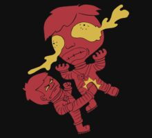 Astronaut getting kicked in the nuts because the world needs this picture to exist -- funny cartoon drawing in red and yellow by DiabolickalPLAN