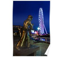 Christopher Columbus Oversees the Construction of the Seattle Great Wheel at Waterfront Park Poster
