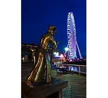 Christopher Columbus Oversees the Construction of the Seattle Great Wheel at Waterfront Park Photographic Print