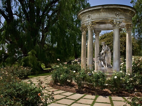 Classical statuary in Huntington Rose Garden by Celeste Mookherjee