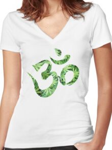 Ohm made of marijuana leaves Women's Fitted V-Neck T-Shirt