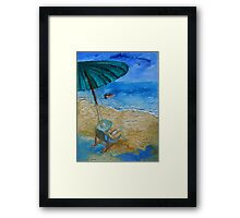 Beach, Sun, Umbrella, Holidays. Framed Print