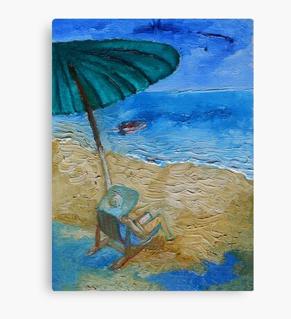 Beach, Sun, Umbrella, Holidays. Canvas Print