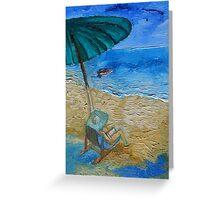 Beach, Sun, Umbrella, Holidays. Greeting Card
