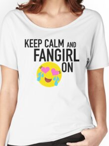 Keep Calm and Fangirl in Black Women's Relaxed Fit T-Shirt
